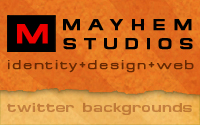 MayhemSudios - Identity + Design + Web + Twitter Backgrounds